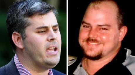 Minister Mark Ryan, left, has been accused of using Tim Pullen's family as political pawns and right, Mackay  man Tim Pullen was killed in 2012. His family still do not know where his remains are.