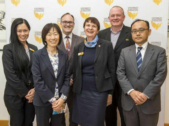 Celebrating USQ's strong Japanese ties are (from left) Ms Ivy Chung, Consul-General Keiko Yanai, Associate Professor Warren Midgley, USQ Vice-Chancellor Professor Janet Verbyla, Phillip Eastment and Norihiko Nakajima.