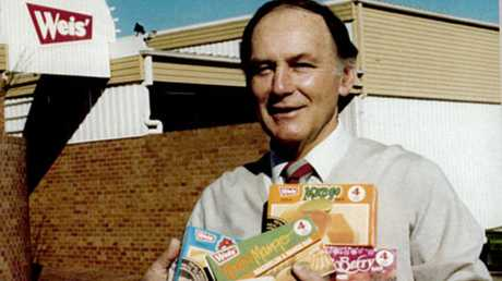 Les Weis holds packets of ice creams prior to his retirement after in 1995 after 38 years.