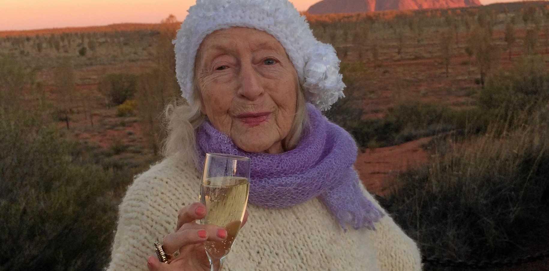 FULL OF LIFE: Eileen Kramer is hip and groovy enjoying the stunning Uluru sunset.