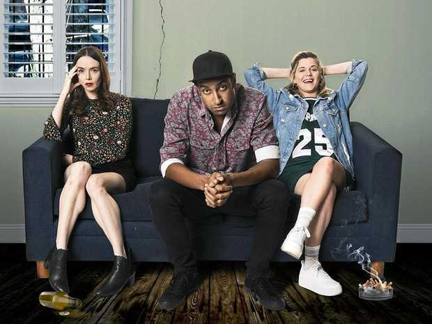 Valene Kane, Matt Okine and Harriet Dyer star in the TV series The Other Guy.