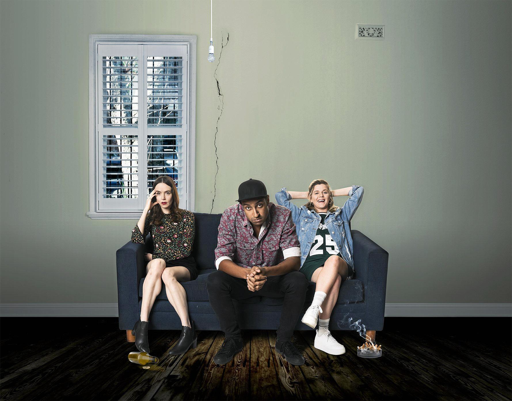 Valene Kane, Matt Okine and Harriet Dyer star in the TV series The Other Guy.