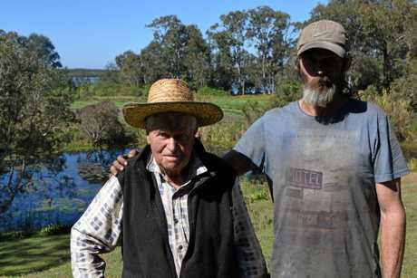 Halls Creek resident Grahame Tweedale and his son Mal Tweedale.