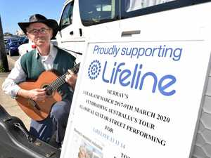 PLAYING ON: Murray Mandel, 64, will be touring the country on an epic three year tour raising funds for Lifeline. He will be playing in Coffs Harbour at the weekend.
