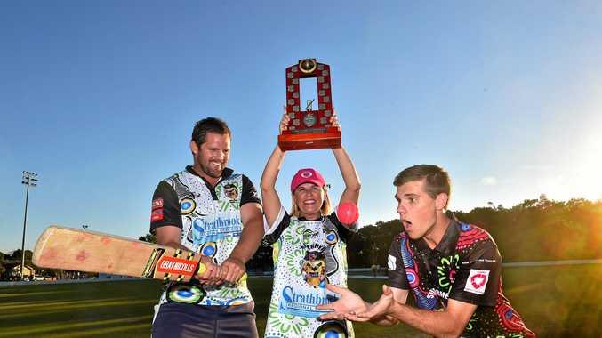 Kaylene Hart with Ryan Hansen (L) and Brendan West with the Ackerman Memorial Cricket Trophy last year.