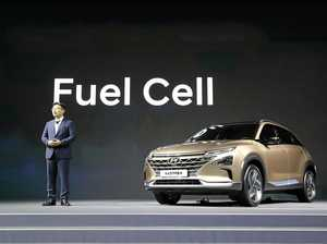 UNVEILED: Hyundai 's Ryu Chang with  the hydrogen fuel cell.