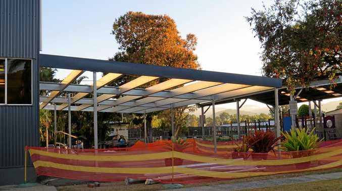 SHELTERED: The roof upgrade to the outdoor area at the Criterion Hotel at Finch Hatton should be complete by this weekend.