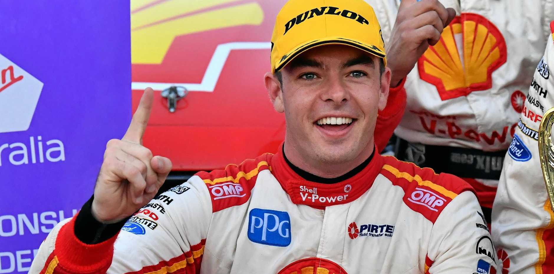 Shell V-Power Racing's Scott McLaughlin celebrates winning race 15 at the Ipswich SuperSprint round of the Supercars championship.