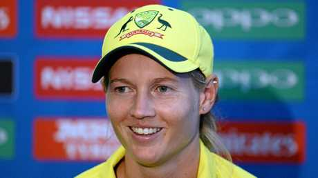 Australian captain Meg Lanning speaks during a post-match press conference at the Women's World Cup in England.