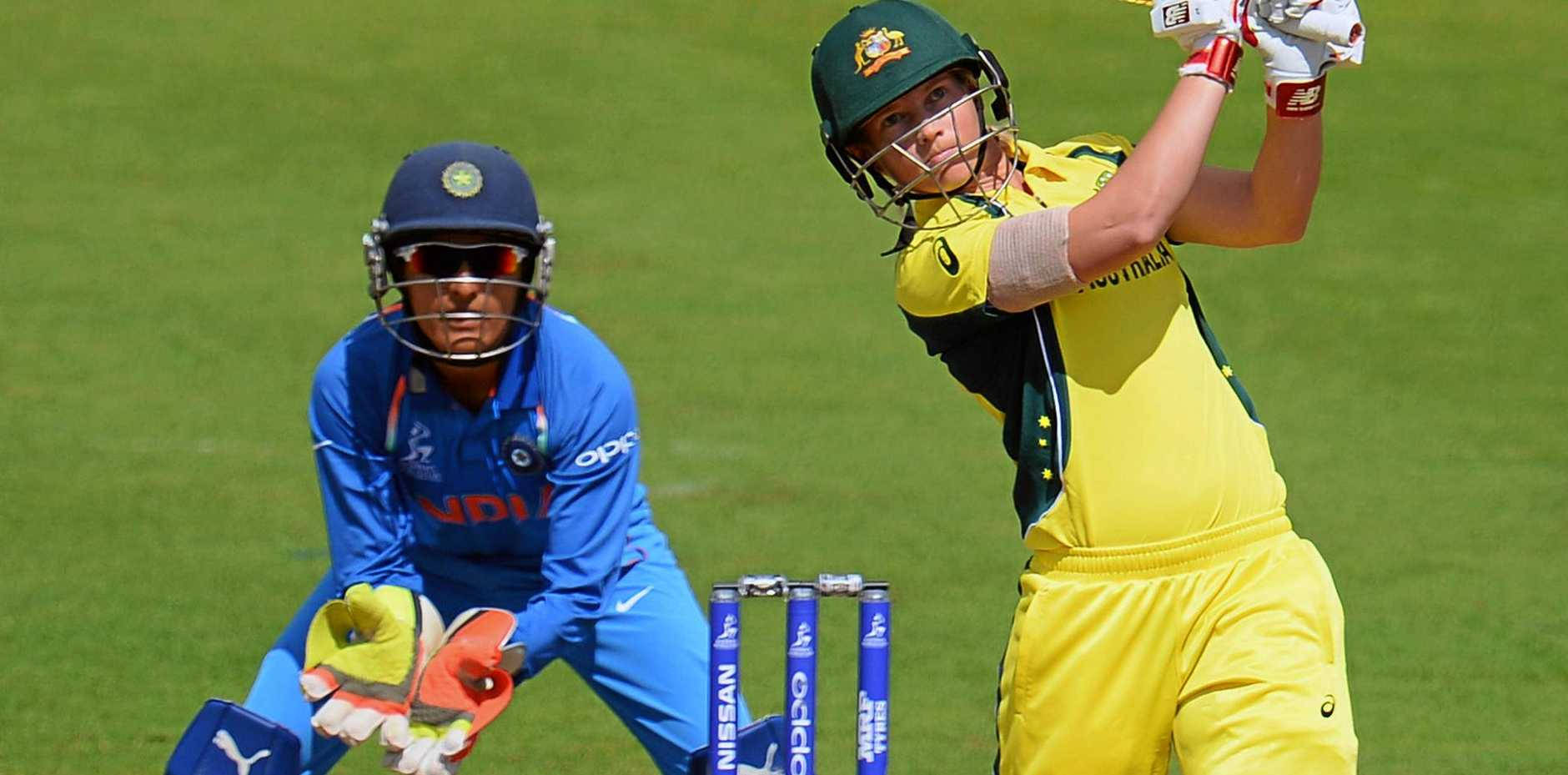 Meg Lanning of Australia plays a shot during the Women's World Cup match against England in Bristol.
