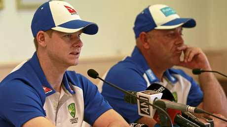 Australian cricket captain Steven Smith (left) and head coach Darren Lehmann.