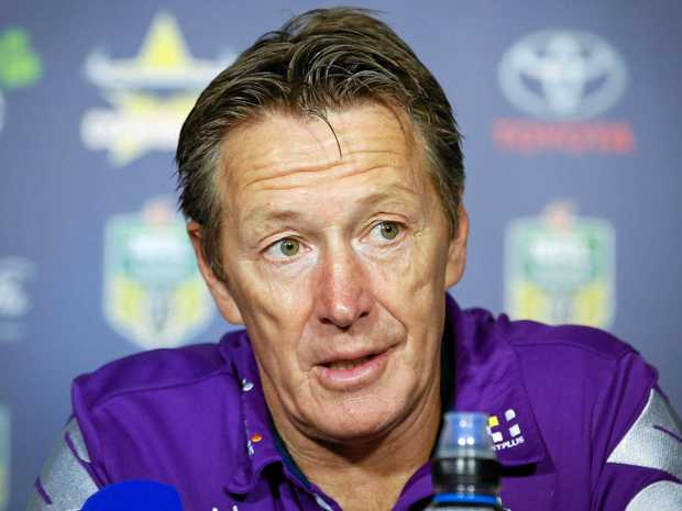 Melbourne Storm coach Craig Bellamy talks at a post-game media conference.