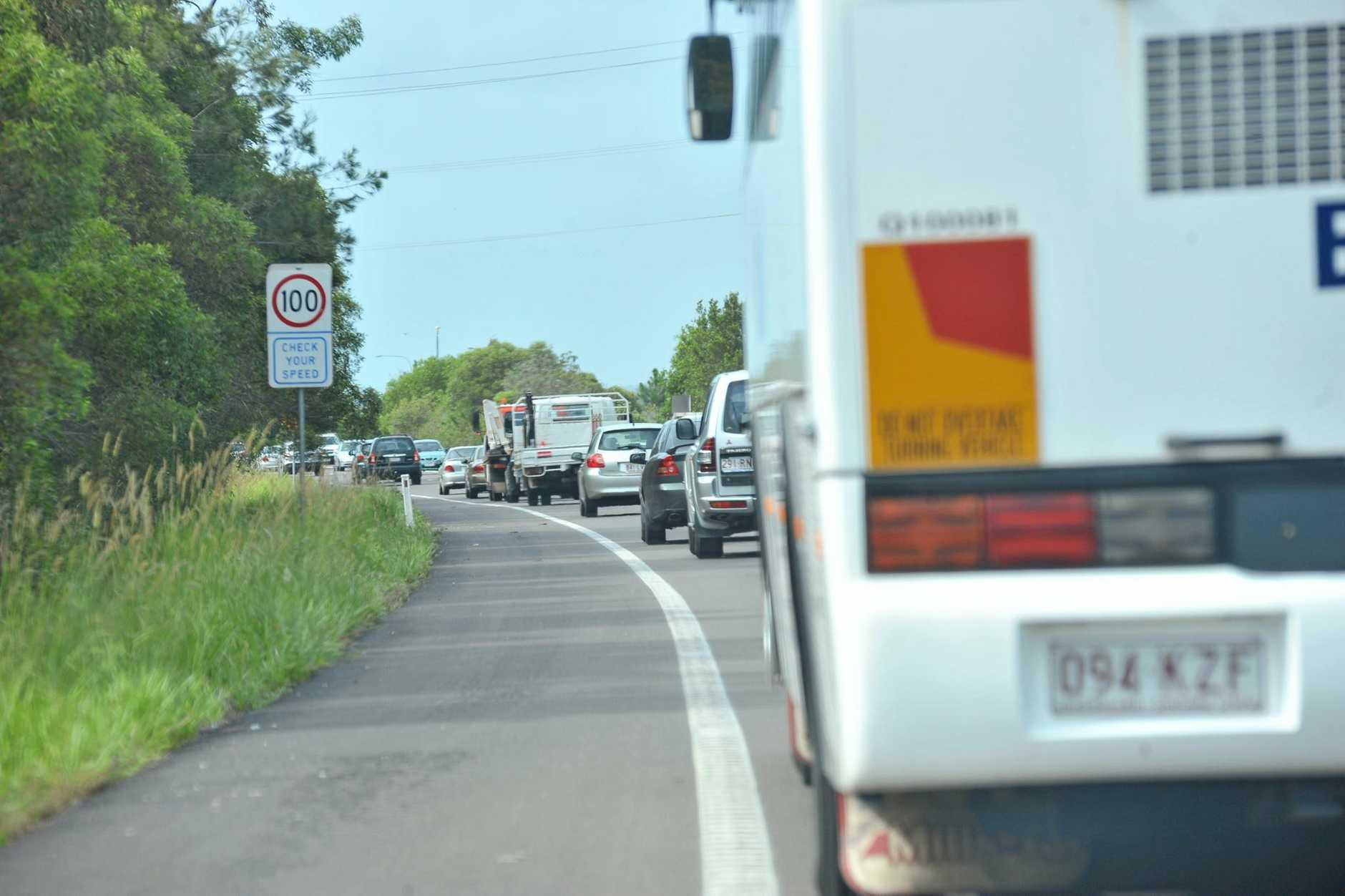 ROAD CLOSED: David Low Way collapsed 1km north of Coolum, traffic builds up on Motorway.  Photo: John McCutcheon / Sunshine Coast Daily.