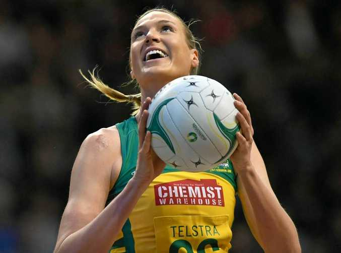 Caitlin Bassett of the Diamonds looks to score during game two of last year's Constellation Cup netball series against the Silver Ferns.