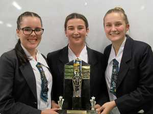 STRONG SPEAKERS: Cassidy Callinan, Amelia Grundon and Abi Cooper after their Senior Grand Final Debate win.