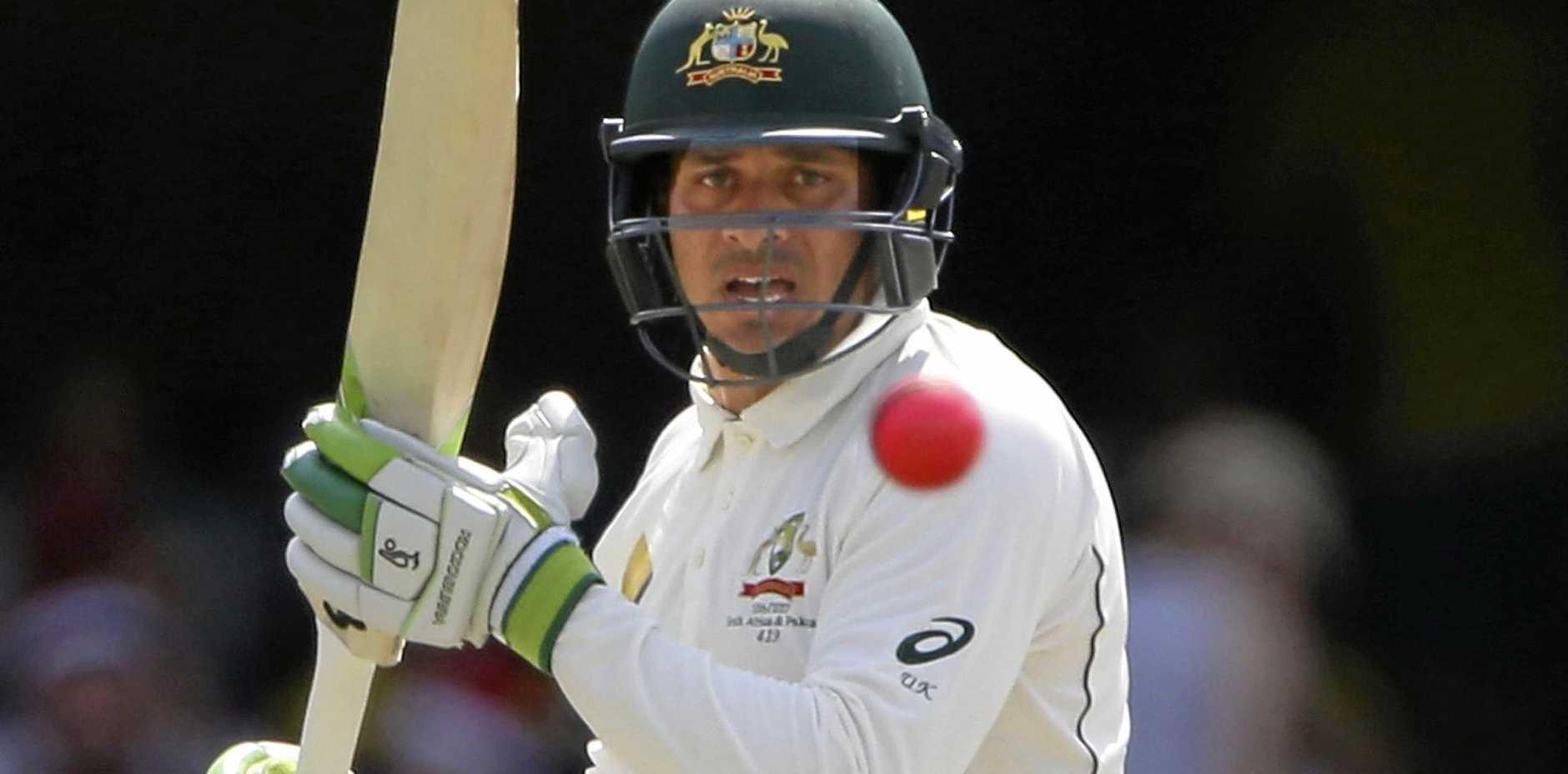 Australian batsman Usman Khawaja plays a shot against Pakistan in Brisbane last summer.