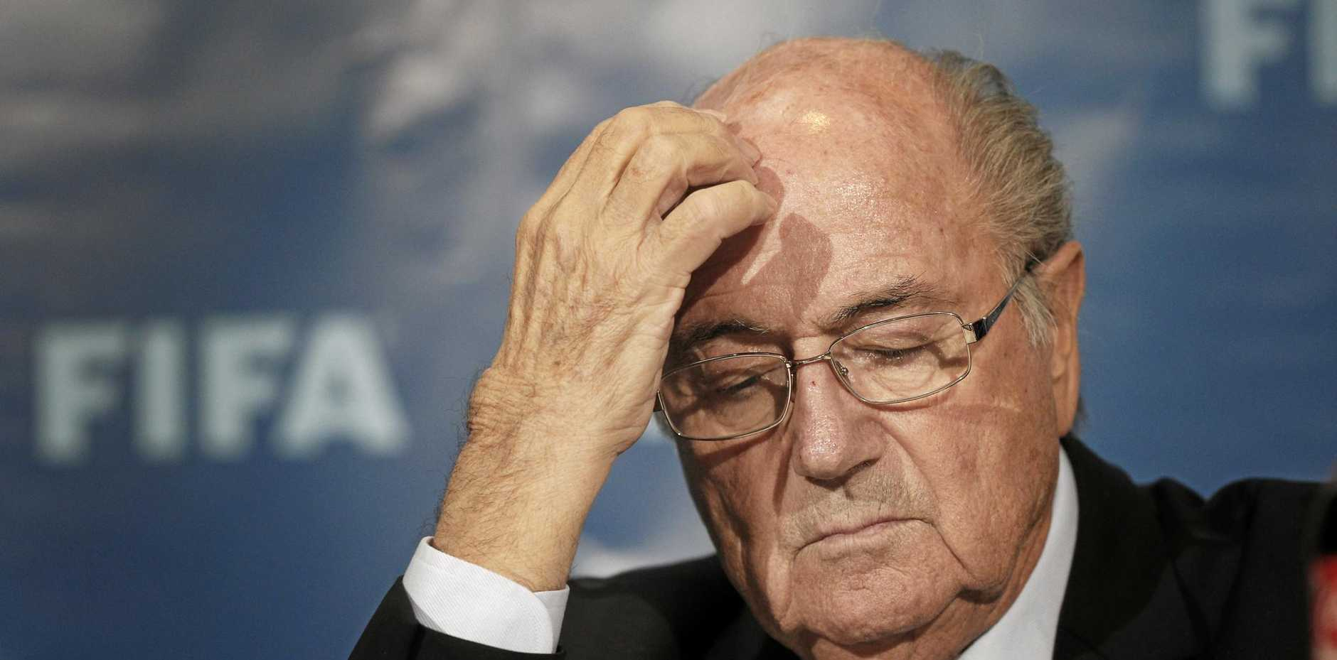 Former FIFA president Sepp Blatter at a news conference in Morocco.