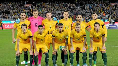 Australian players before the international friendly against Brazil at the MCG in June.