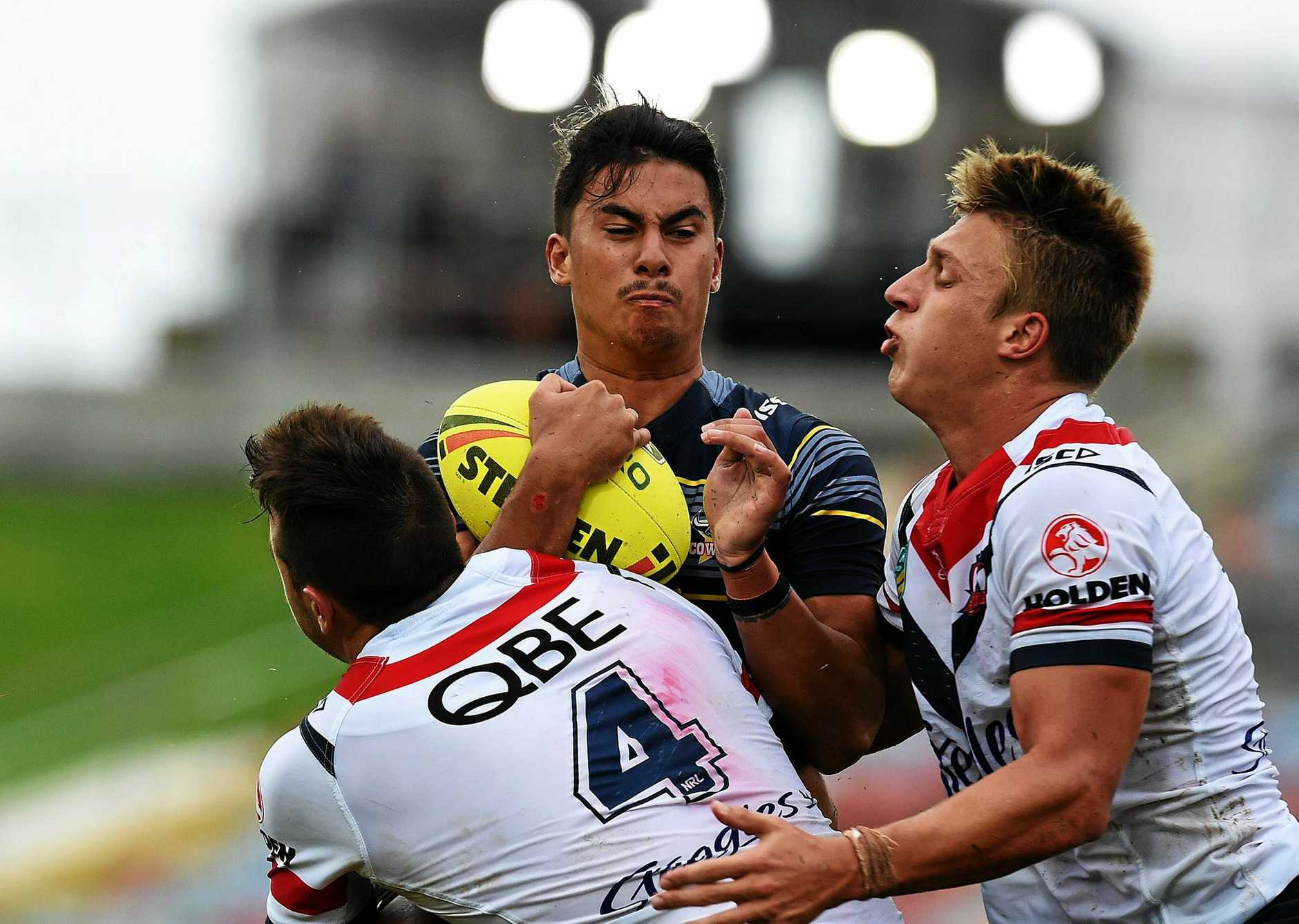 North Queensland Cowboys under-20s player Enari Tuala in action against the Sydney Roosters at 1300SMILES Stadium.