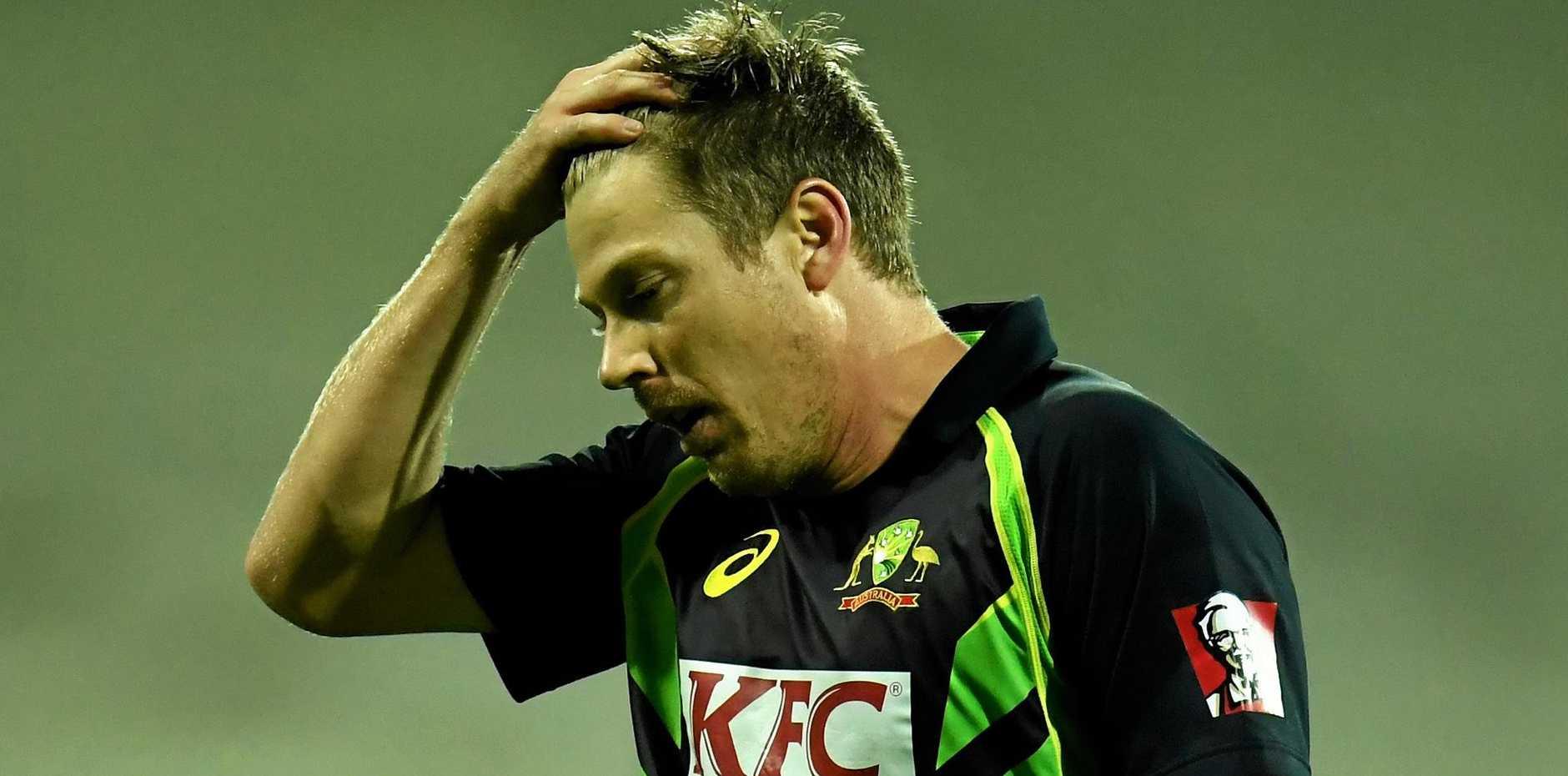 Australia's James Faulkner during the T20 international against Sri Lanka in Geelong in February.
