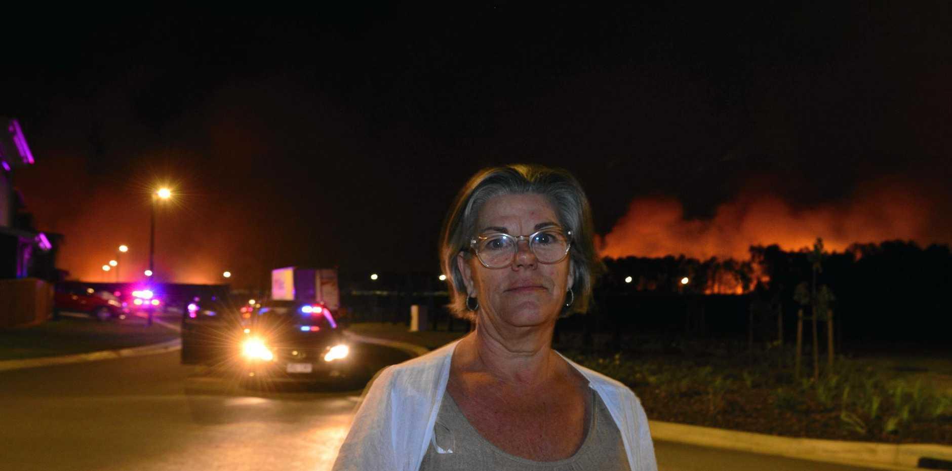 A fire threatens Aura and Bells Reach. Resident of Aura Pru Schalkwyk was very worried.