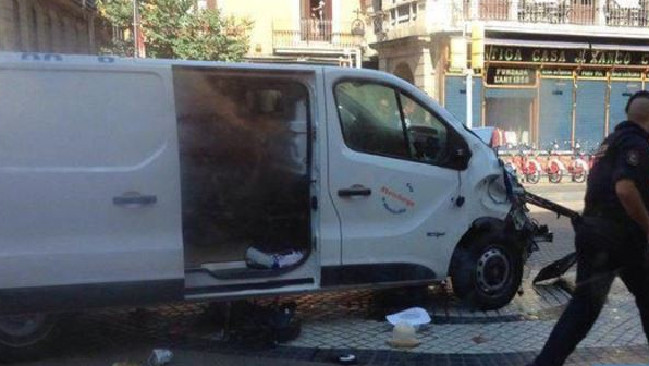 The van which crashed into a crowd in Barcelona. Picture: SuppliedSource:Supplied