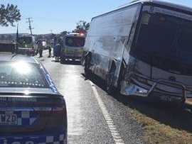 23 schoolkids on bus during head-on collision with car