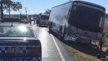Two people have been injured after a school bus and a car collided near Rathdowney, south of Beaudesert. Picture: 9 News Quensland