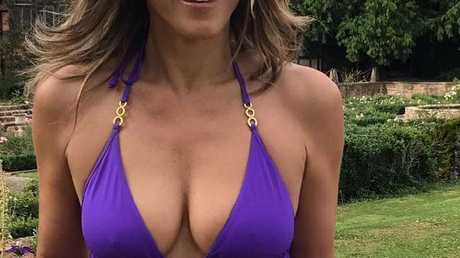 Elizabeth Hurley showed off her stunning figure on social media with this snap of herself in a purple one-piece swimsuit.