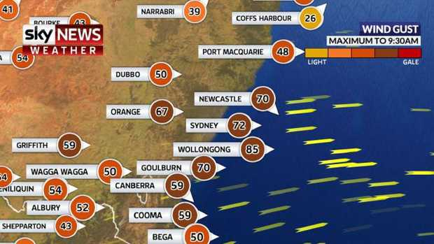 The wind gusts were affecting large parts of NSW this morning. Picture: Sky News WeatherSource:SKY