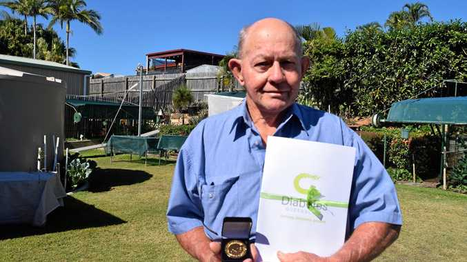 FIGHTING HARD: Clinton man Ian Haughton was awarded the Kellion Victory Medal for living 60 years with diabetes.