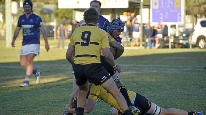 Dalby lock Sam Hogarth is smothered by the Goondiwindi defence in today's Risdon Cup qualifying semi-final at John Ritter Oval.