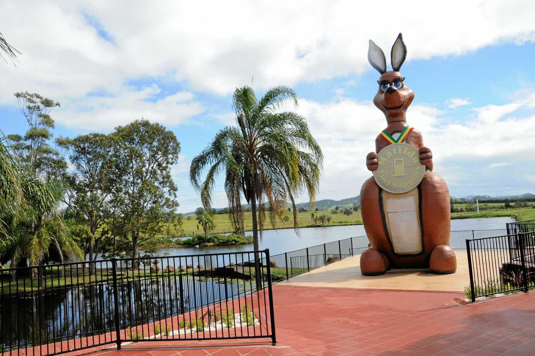 Matilda the kangaroo is at the Matilda Service Station at Kybong.