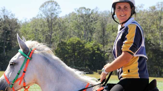 Fiona Fenech from Widgee and Abberlyn Park Olivia, winners of Friday's 80km ride at the 2017 Australian Endurance Championship being hosted at Stirling's Crossing Equestrian Complex in Imbil.