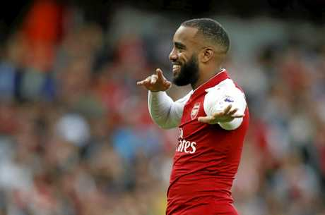 Arsenal's Alexandre Lacazette celebrates after scoring against Leicester City.