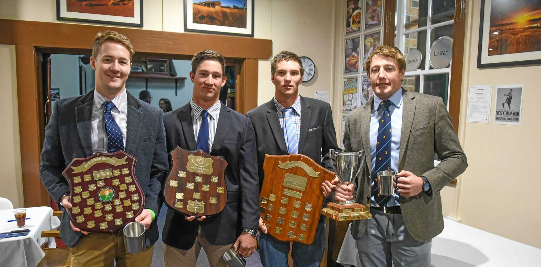 Jack Grant, Tom Sheridan, Aj Riley and Tom Capel with their awards.