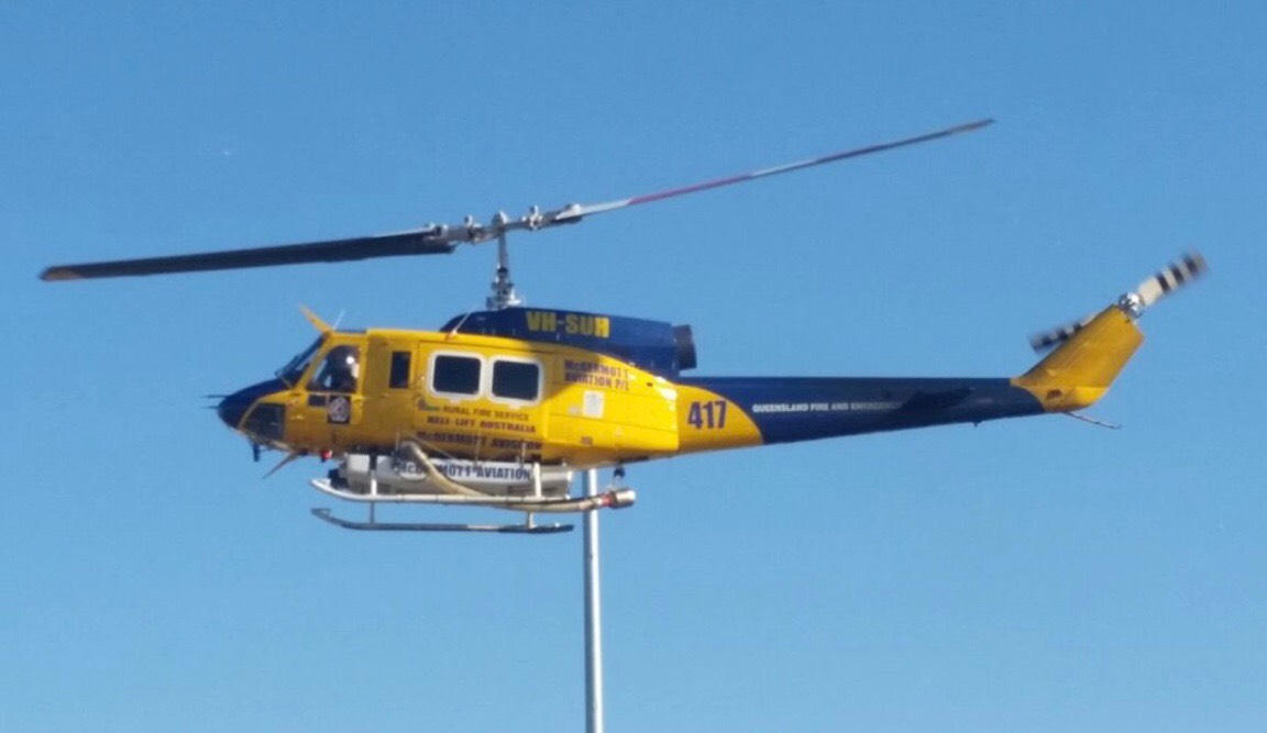 The Bell 214B takes to the sky above the Caloundra fire. Photo: Scott Sawyer