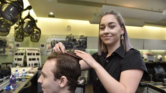 Stephanie Roux takes a tilt at her second regional title in the Tafe Worldskills competition. Workskill, Hairdressing, TAFE. August 2017