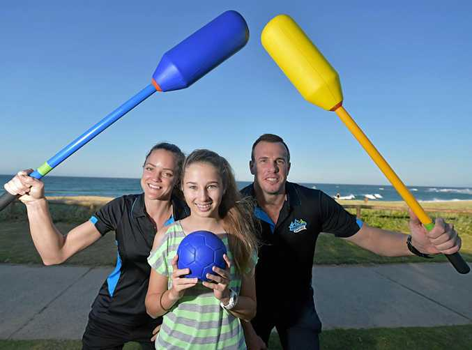 The Sunshine Coast's first high-octane Adventurism business is opening its doors in Caloundra on September 9 .Kiara Stegman, Zoe Teyes, 14, and Stephen Hamlin ready for action.