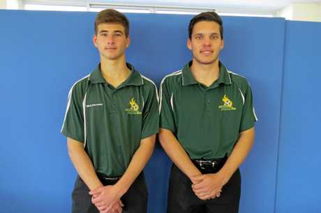 Western Pride under 18 footballers Mitchell Herrmann (left) and Will Kitching have been with the club since its first under 13 NPL games.