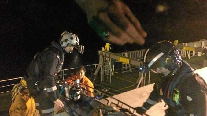 A crewman from a bulk carrier was transported from his ship at Hay Point to Mackay Base Hopsital on Saturday night.