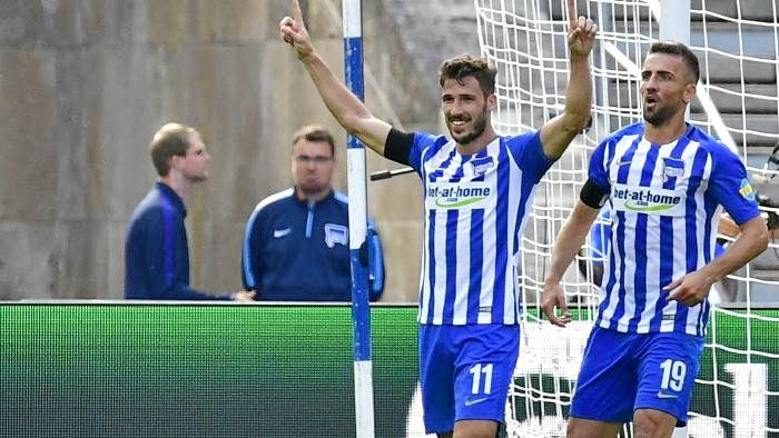 DOUBLE CELEBRATION: Mathew Leckie had good reason to smile in his Berlin debut.