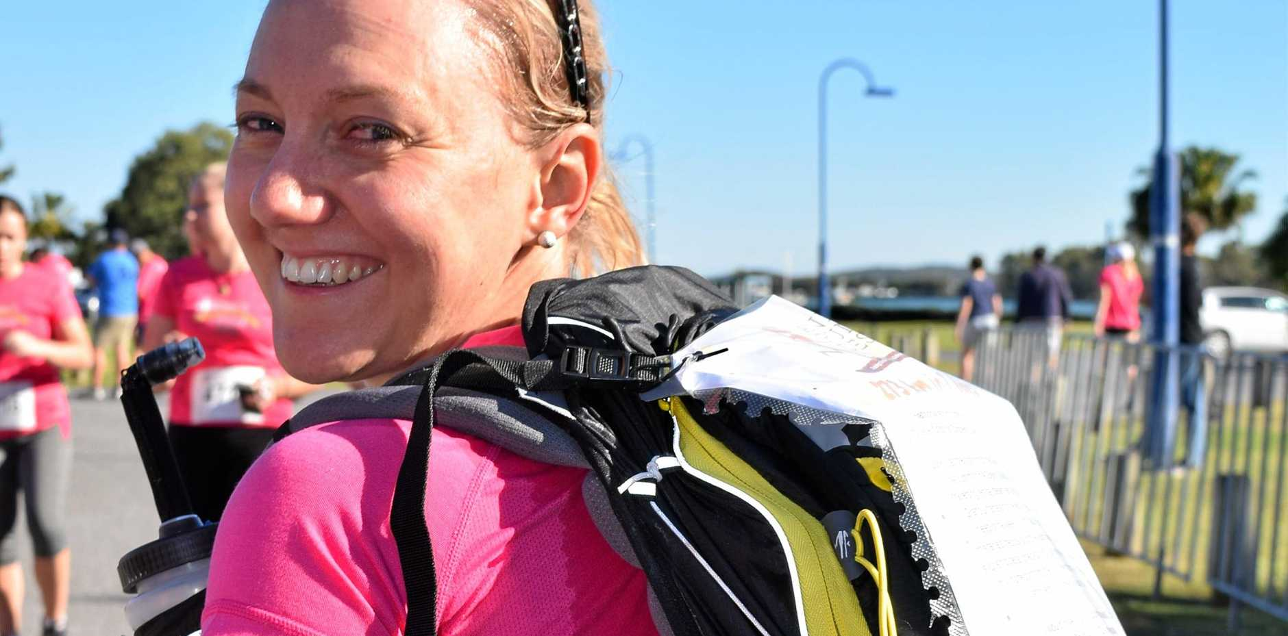 WORTHY CAUSE: Gladstone runner Anna Farmer ran with a pack to prepare for her charity race in Utah.