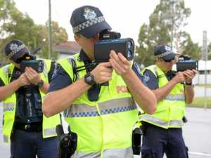 ROAD SAFETY WEEK: Constable Matthew Bedding, constable Bradley Threkeld and constable Steve Freney participating in speed management LiDAR training in George Street.