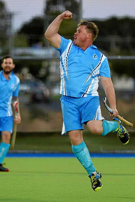 Brothers' Corey Mason celebrates a goal. Maryborough Hockey Div 1 men's semi finals: Maryborough Brothers (blue) v Colts (red).