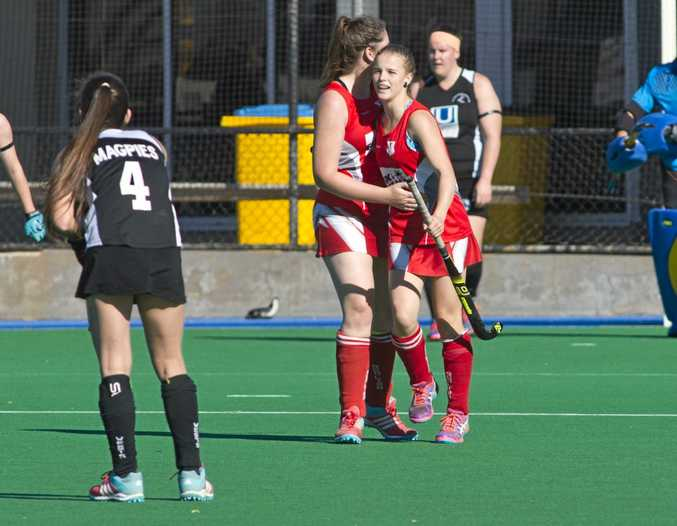 Julia Gannon celebrates a goal for Red Lion. Hockey A1 womens final, Red Lion vs Wests. Sunday, 23rd Jul, 2017.