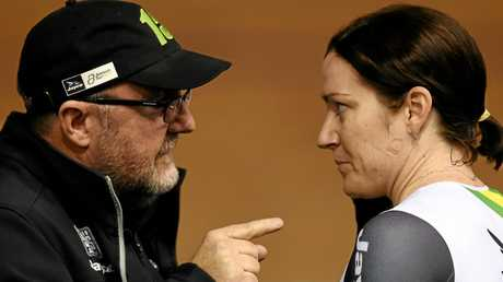 Australian cyclist Anna Meares (right) and her coach Gary West at the International Track Series (ITS) in Melbourne in 2016.