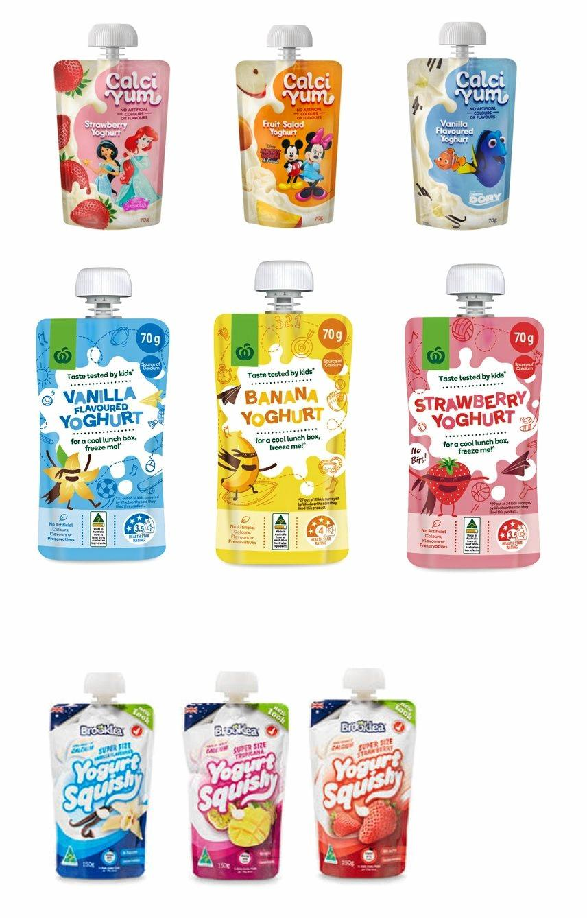 Parmalat Australia has recalled Calciyum, Woolworths & Aldi Brooklea yoghurt pouches sold at various retailers including Woolworths, Aldi, Metcash/IGA, Foodworks, Foodland, Friendly Grocer 4 Square and/or Farmer Jacks stores nationally.