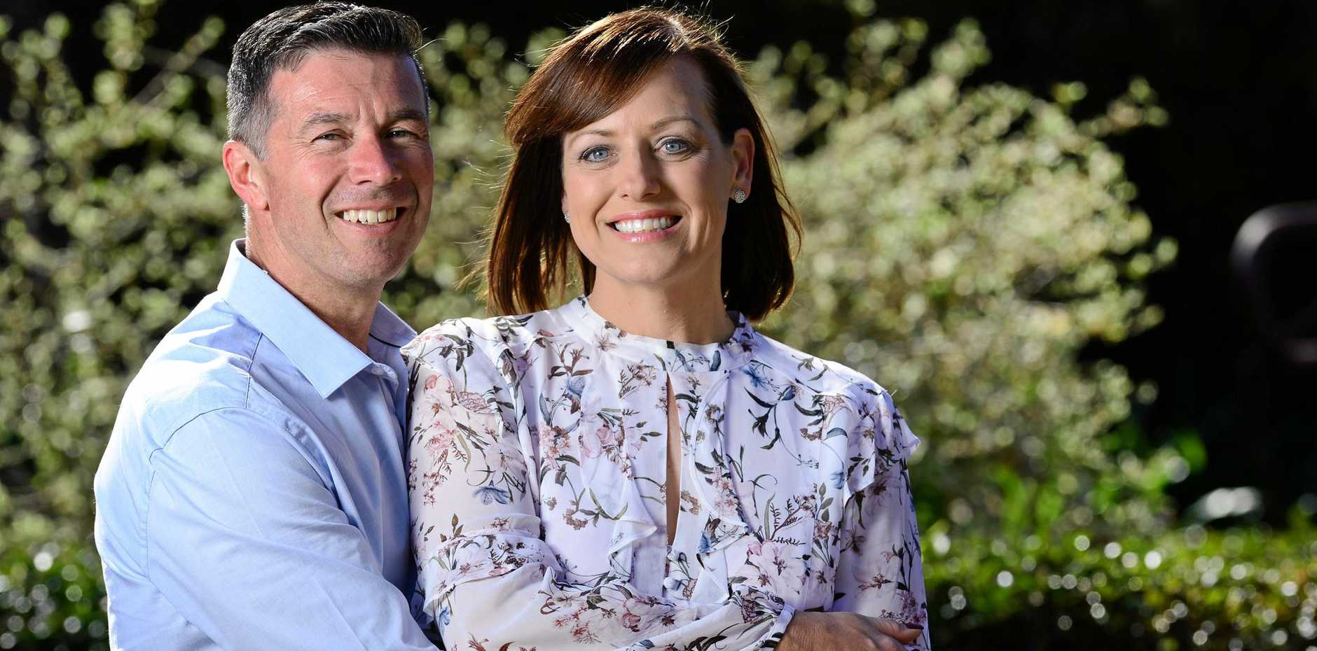 DREAM TEAM: Ipswich's newly elected mayor Andrew Antoniolli with his wife Karina in Queens Park.