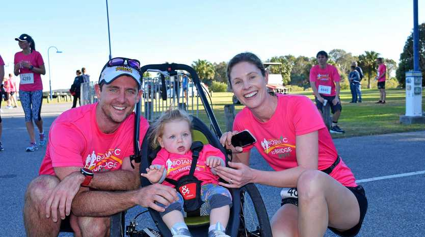 FIT FAMILY: Brett and Rebecca Penridge with daughter Ellie, 18 months, at Botanic to Bridge 2017.